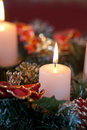 Advent wreath with burning candles for christmas time Royalty Free Stock Images