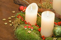 Advent wreath and candles a hand made with golden stars green moss Royalty Free Stock Image