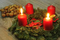 Advent wreath with candles on a table Stock Image