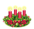 Advent wreath four burning candle fourth christmas star christmas baubles christmas balls christmas tree ball red Royalty Free Stock Photo