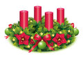 Advent wreath four candle fourth burning christmas star christmas baubles christmas balls christmas tree ball red Royalty Free Stock Image