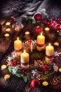 Advent wreath with four white burning candles christmas ball and decorations on a wooden background with festive Royalty Free Stock Photo