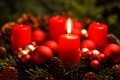 Advent wreath with one burning candle Royalty Free Stock Photo