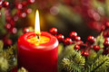 Advent wreath over red background Royalty Free Stock Photo