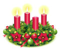 Advent wreath three burning candle second third christmas star christmas baubles christmas balls christmas tree ball red Royalty Free Stock Images