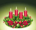 Advent wreath three burning candle second third christmas star christmas baubles christmas balls christmas tree ball red Royalty Free Stock Image