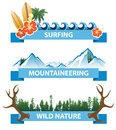 Adventure banners horizontal highly detailed Royalty Free Stock Image