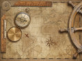 Adventure and explore concept still life with old nautical world map Royalty Free Stock Photo