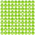100 adventure icons set green circle