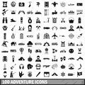 100 adventure icons set, simple style