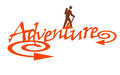Adventure illustration of the word with a person hiking Stock Photo