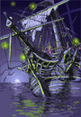 Adventure island the ghost ship detailed illustration of a this illustration is saved in eps with color space in rgb Royalty Free Stock Photography