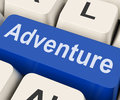 Adventure Key Means Venture Royalty Free Stock Photo