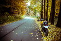 Adventure motorbike autumn road perfect for driving during season Royalty Free Stock Images