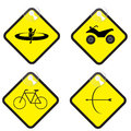 Adventure sign set in yellow tag vector illustration eps Stock Photo