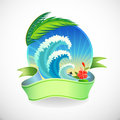Adventure Surfing in Tropical Island Royalty Free Stock Images