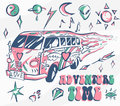 Adventure time vector poster. Hippie car, mini van with different symbols. Retro colors. Psychedelic concept. Vector illustration