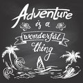 Adventure is a wonderful thing hand drawn lettering and illustration with chalk on blackboard background Stock Photos