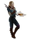 Adventurer s meal break female fantasy having a of fish and chips d digitally rendered illustration Royalty Free Stock Photography