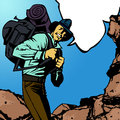 Adventurer with speech bubble cartoon comic book style illustration of a man carrying backpack Stock Photography