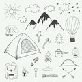 Adventures hand drawn doodle set in vintage style Royalty Free Stock Photo