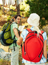 Adventurous couple trekking in the forest Stock Images