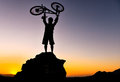 Adventurous cyclists silhouette and adventure Stock Photos
