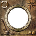 Adventurous journeys background brown empty porthole with bolts compass rose shells lifebuoy sailing ship and old rusty anchor Royalty Free Stock Images