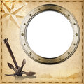 Adventurous journeys background old yellowed paper with spots compass rose empty metal porthole sailing ship and old rusty anchor Royalty Free Stock Photos