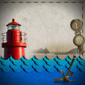 Adventurous journeys background red lighthouse compass sailing ship blue waves and old rusty anchor on paper concept of travels Royalty Free Stock Photo