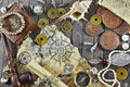 Adventurous pirate background romantic still life with various objects map paper scroll ancient coins pipe compass and shells on Royalty Free Stock Images