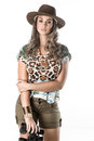 Adventurous woman on safari Royalty Free Stock Photo