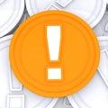 Advertencia de mark coin means surprise or de la exclamación Imagen de archivo