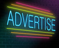 Advertise concept illustration depicting an illuminated neon sign with an advertising Royalty Free Stock Image