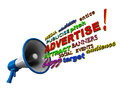Advertise megaphone words Royalty Free Stock Photo
