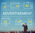 Advertisement ADS Commercial Marketing Advertising Branding Conc Royalty Free Stock Photo