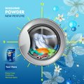 Advertisement banner of stain and dirt remover powder laundry detergent for clean and fresh cloth