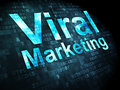 Advertising concept viral marketing on digital pixelated words background d render Stock Images