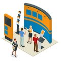 Advertising exhibition stands mockup 3D composition for a recruitment agency or tour agencies. Vector isometric