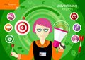Advertising expert of marketing profession series woman holding a megaphone and darts with item icons Stock Images