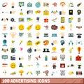 100 advertising icons set, flat style