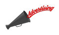 Advertising megaphone on white background with pop up caption concept for industry marketing and mass media Stock Image