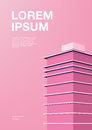 Advertising poster with abstract architecture. Pink background with skyscraper. Vertical placard with place for text Royalty Free Stock Photo