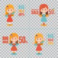 Advertising shopping illustrations with girl characters on transparent background. Big summer sale banner. Big sale 50 Royalty Free Stock Photo