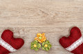 Advertising space on a wooden board with flowers and hearts Stock Image
