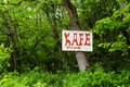 Advertizing in the wood sign on a tree forest Royalty Free Stock Photos