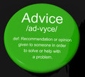 Advice Definition Button Showing Help Royalty Free Stock Photography