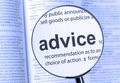 Advice highlighted through a magnifying glass Royalty Free Stock Photo