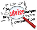 Advice magnifying glass words guidance tips help information sup word under a to illustrate searching for and finding support Royalty Free Stock Photography