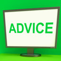 Advice screen means guidance advise recommend meaning or suggest Stock Images